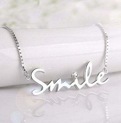 "16"" OR 18"" Chain SMILE Pendant NECKLACE STERLING SILVER CUTE TRENDY Gift Box A17"