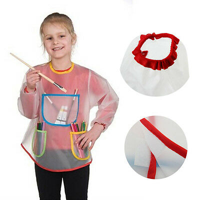 White Kids Art Painting Apron Smock With 3 Large Pockets Fits 3-8 years old New