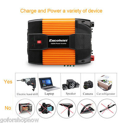 1000W/2000W Peak Vehicle Car Power Inverter 12V DC to 230V AC Dual USB/AC Outlet