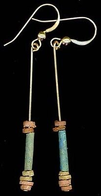 BC600 Ancient Egypt Turquoise Faience Silica Ceramic Proto Glass Hooks 14ktGF