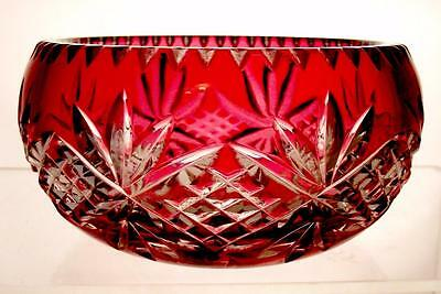 Webb Corbett Layered Flashed Crystal Glass Cranberry Cut to Clear Trinket Bowl