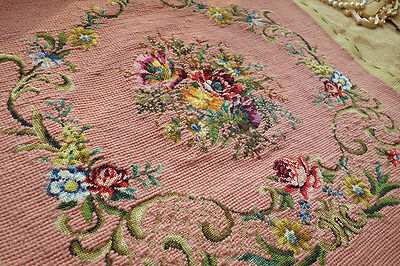 Completed French Country Vintage Chic Shabby  Needlepoint Petit Point Canvas