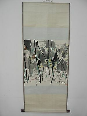 Excellent old Chinese Scroll Painting By Wu Guanzhong: lotus Z21