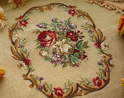 Vtg. Preworked Needlepoint Canvas Whole Petit Point Burgandy Roses Bronze Scroll