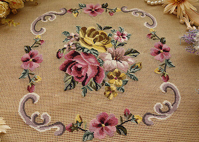 Chic Shabby Delicate Roses Bouquet Scroll Handmade Preworked Needlepoint Canvas