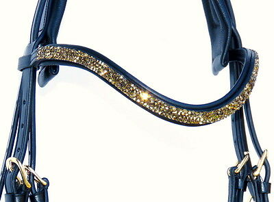 FSS GOLD METEOR Light Colorado Topaz CRYSTAL ROCKS Bling Curve U Shape Browband