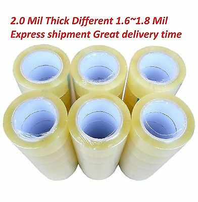 36 Rolls Clear Packing Packaging Carton Sealing Tape 2.0 Mil Thick 2 x 110 Yards