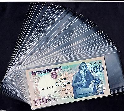 "Lot 50 Transparent & Clear Plastic Banknote Sleeves Size 3.23 ""  X  7 """