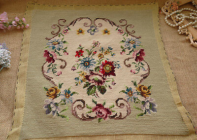 Beautiful Light Light Green Blue Red Daisy Bouquet Completed Needlepoint Canvas