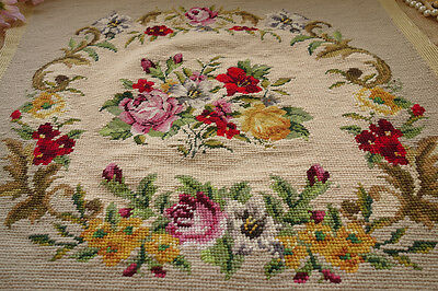 Country Roses Shabby Chic Gorgeous Hand Crafted Completed Needlepoint Canvas