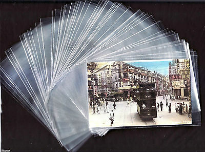 "Lot 50 Transparent /Clear Plastic Sleeves 3.75 "" X 6 "" for Postcard Collection"