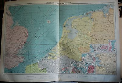 1915  Large Antique Mercantile Map - Eastern Ports Of Great Britain, 9 Insets