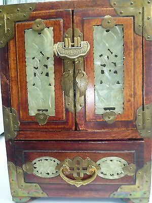 Vintage Chinese Jewellery Cabinet With Carved Soap Stone Panels