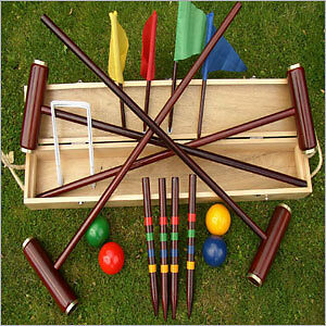 Quality Traditional Birchwood Boxed Croquet Set Outdoor Garden Game Summer
