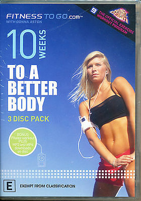 10 WEEKS TO A BETTER BODY DVD Fitness To Go with Donna Aston 3 Disc Set ~ new
