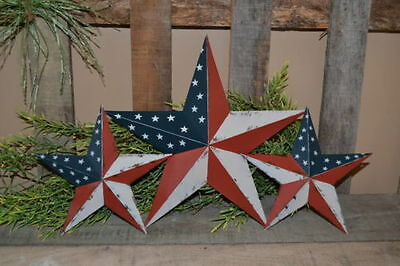"SET of 3 12""  8""  AMERICAN FLAG BARN STARS Metal Tin Primitive Country"