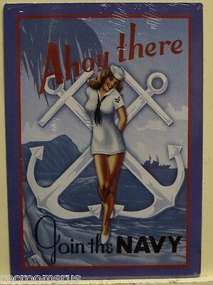 JOIN THE NAVY metal sign Ahoy there vintage pinup girl style military ship gp-03