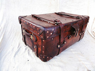 A Great Vintage Leather Chestnut Trunk