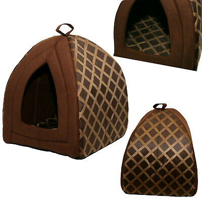 Floding Luxury Pet House Bed Cat Dog Kitten Warm Fleece Igloo Soft Cave Brown Nd