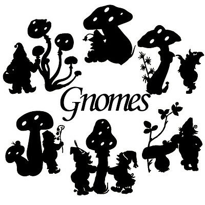Die Cut Outs Silhouette Gnomes & Toadstool + Free Creatures. Fairy jars, craft