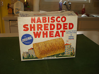 1950 Nabisco Shredded Wheat Cereal Box, Straight Arrow Tv Advertising On Back