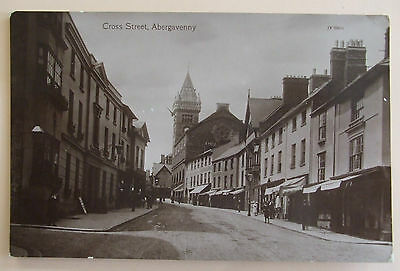 VALENTINES SERIES RP Postcard POSTED 1913 CROSS STREET ABERGAVENNY MONMOUTHSHIRE