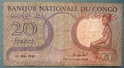 Congo 20 Francs Note Issued 15.06. 1962, P 4,