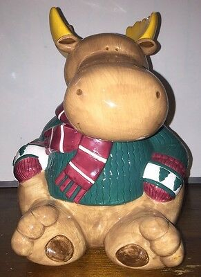 St. Nicholas Square 1999 Winter Collection Christmas smiling Moose Cookie Jar.