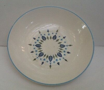 Vintage SWISS ALPINE CHALET Round Serving Dish Marcrest Blue Green Leaves