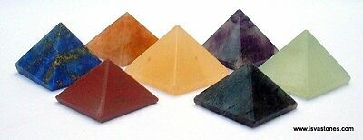 REIKI ENERGY CHARGED COMPLETE PYRAMID CRYSTAL CHAKRA SET OF 7 NATURAL HEALING Uk