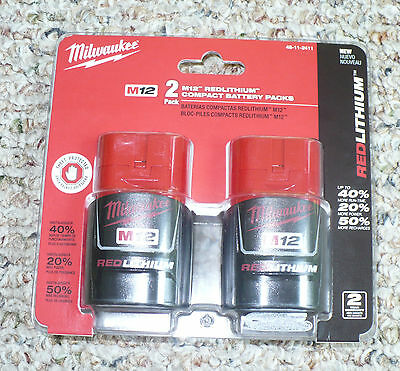 New with box Milwaukee 48-11-2411 M12 REDLITHIUM Compact Battery Two Pack deals