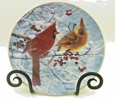 danbury mint cardinals for all seasons scarlet in winter collector plates