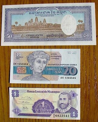 Collection Of 3 Collectable Mint World Banknotes  Cambodia  Bulgaria & Nicaragua