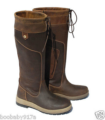 Rhinegold Elite Vermont Leather Country Boots Standard Or Wide Calf Waxy Brown