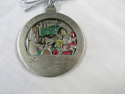 2007 John Deere Pewter Christmas Ornament- 12th in series- new in pouch