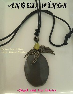 00004 ANGEL WINGS Jade n Jasper Archangel Metatron n Ariel Infused Necklace