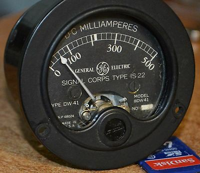 GE Signal Corps D.C. MILLIAMPERES TYPE IS-22 MODEL 8DW41 TYPE DW-41 AMPERES