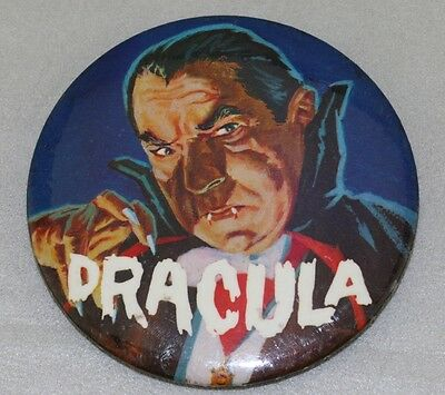 "Famous Monsters DRACULA Large 3"" Pin Button Pinback 1965 Universal Elwar"