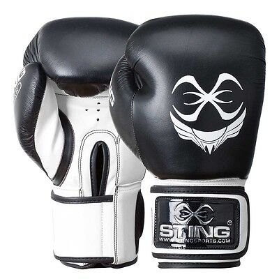 Premium Sting Titan Professional Leather Boxing Gloves | 12 OZ | Black & White