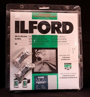 Ilford MGIV.1 B&W Paper Pearl 25 sheet Value Pack with 2 rolls HP5 Film Exp 7/18