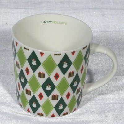 Starbucks 2003 Barista Green Plaid Pattern Mug 18 fl oz (VERY GOOD)