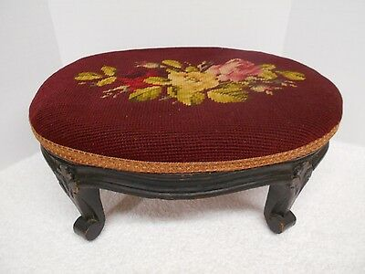 Antique Needlepoint Footstool Heavy Carved Wood Floral Burgundy Roses