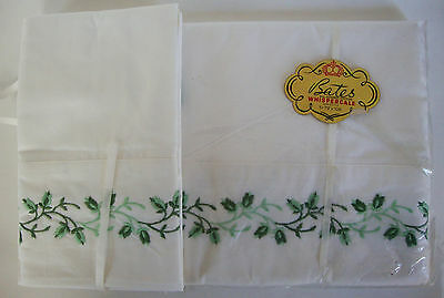 Bates sheet pillow cases vintage 1962 Whispercale  new in package embroidered