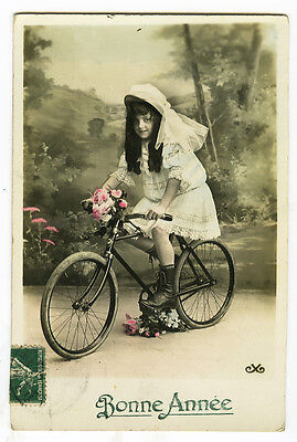 c 1910 Child Children Young GIRL ON BICYCLE Bike French photo postcard