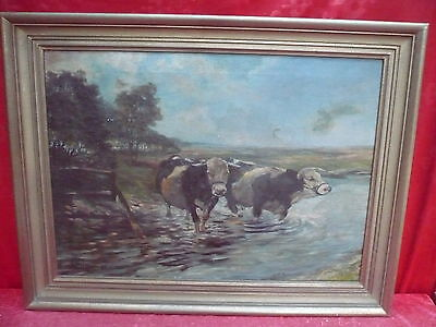 Pretty, old gemaelde__Cows by the riverSigned: C.R. Munich 1918__Top painting_