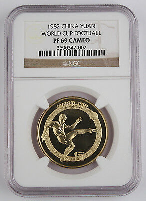 China 1982 1 Yuan World Cup Football Soccer Brass Proof Coin NGC PF69 Cameo
