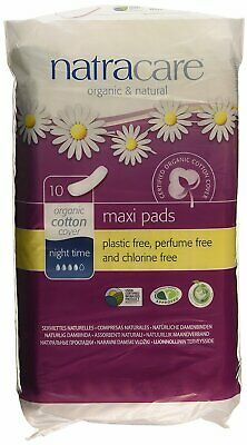 New Natracare Natural Feminine Night Time Maxi Pads Extra Long 10 Pads
