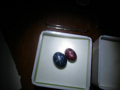 1 PAIR/HIS & HERS, NATURAL 6.5cts STAR SAPPHIRE & 5cts STAR RUBY GEMSTONES