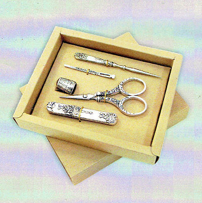 5 Piece Silvertone SEWING SET with Scissors,Awl,Thimble,Threader+Needle case