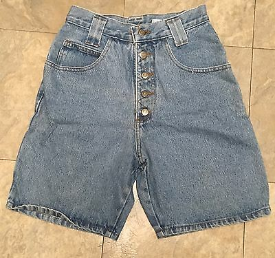 VTG High Waist Denim Shorts Exposed Button Fly Watch LA Jeanswear Made In USA S